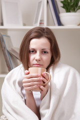 frozen woman with tea cup