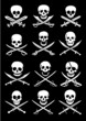 Crossed Swords with Skulls vector collection in black background