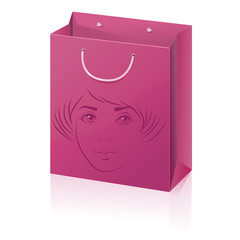 pink vector paper shopping bag with woman face