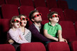 Frightened family in 3D movie