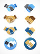 collection of handshake icons and elements