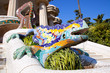 Leinwanddruck Bild - Dragon salamandra of gaudi  in park guell