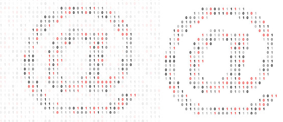 At sign , alphabet from binary code