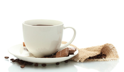 cup of coffee, beans and chocolate isolated on white