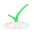 3d green tick ok sign with pedestal