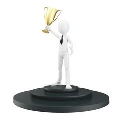 3d man businessman winner on pedestal
