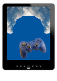tablet, clouds and gamepad poster