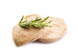seitan steack with rosemary on white background