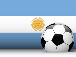 Argentina Soccer Ball with Flag Background