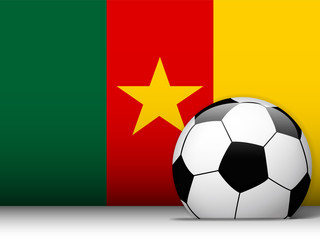 Cameroon Soccer Ball with Flag Background