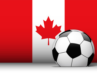 Canada Soccer Ball with Flag Background