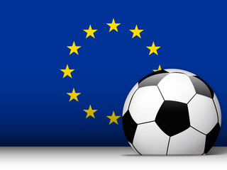 Europe Soccer Ball with Flag Background
