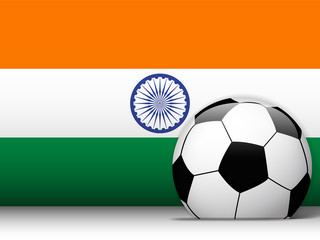 India Soccer Ball with Flag Background