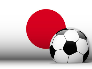 Japan Soccer Ball with Flag Background