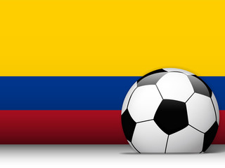 Colombia Soccer Ball with Flag Background