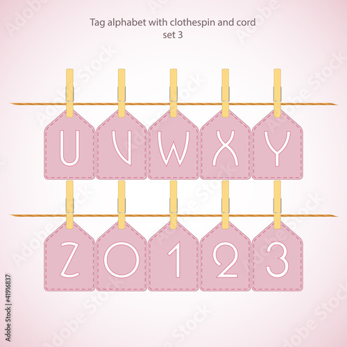 Tag alphabet with clothespin and cord set 3