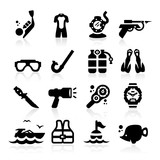 Diving icons set Elegant series