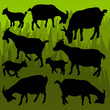 Farm dairy goats detailed silhouettes illustration collection ba