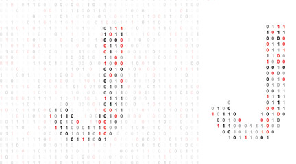 Letter J, alphabet from binary code