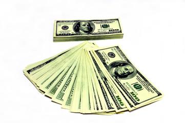 Hundred U.S. dollars, a lot of dollars, white background