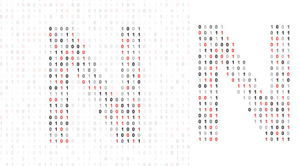 Letter N, alphabet from binary code