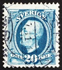 Postage stamp Sweden 1891 Oscar II, King of Sweden