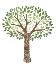 vector illustration of a green leaves tree