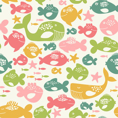 seamless pattern with colorful fishes