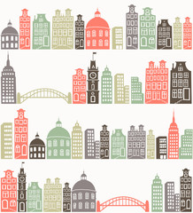 seamless background with colorful city silhouette
