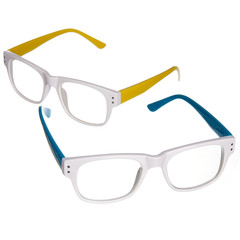 blue and yellow glasses isolated on white