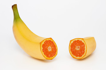 Banana containing an orange