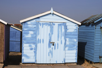 Repainted Beach hut at Ferring. West Sussex. UK