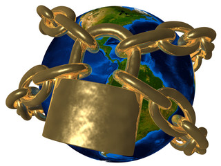 Conspiracy theories - Earth in golden chain - America
