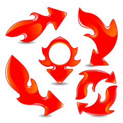 Red vector flame arrows