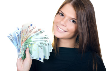 The beautiful girl with euro banknotes