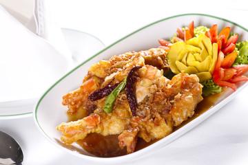 crispy prawn, fried crispy prawn with sweet sauce