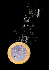 Sinking euro coin concept