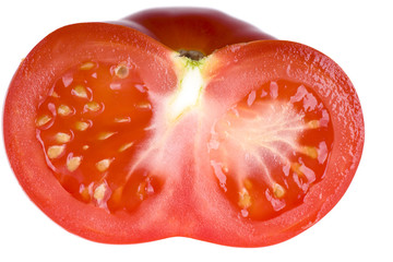 Half of tomato isolated on white background