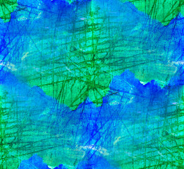 seamless painting blue green watercolor with bright brushstrokes