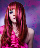 Fototapety Frau mit modischem, buntem Haarschnitt / haircolors-03