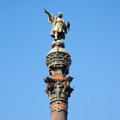 Barcelona Cristobal Colon statue on blue sky