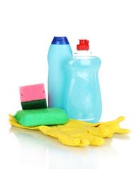 Dishwashing liquids with gloves and sponge isolated on white