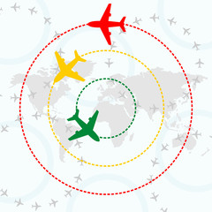 airplanes over world map