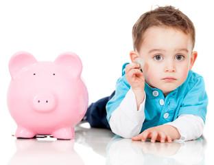 Saving money in a piggybank