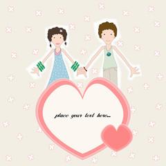 girl heart boy card