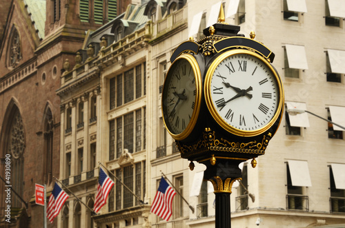 Antique Clock and Manhattan Street Scene