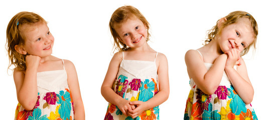 Collection of portrait poses of  young girl isolated on white