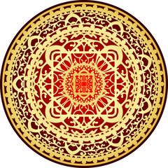 Vector illustration of oriental red & gold rug