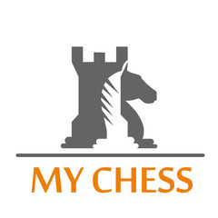 Logo tower and horse of chess # Vector