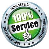100% Service, Qualität, Kompetenz - Button grün